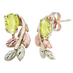 Black Hills Gold Pear Cut Peridot Earrings - Fortune And Glory - Made in USA Gifts