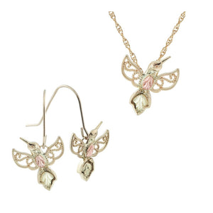 Black Hills Gold Hummingbirds Earrings & Pendant Set
