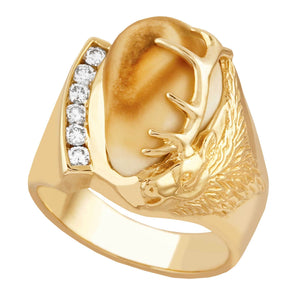 Cascade Elk Ivory & Diamond Gold Mens Ring - Fortune And Glory - Made in USA Gifts