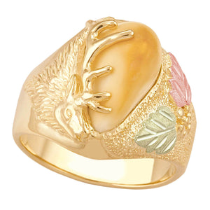 Dakota Elk Ivory 10 Karat Gold Mens Ring - Jewelry