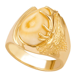 Bighorn Elk Ivory Gold Mens Ring - Fortune And Glory - Made in USA Gifts
