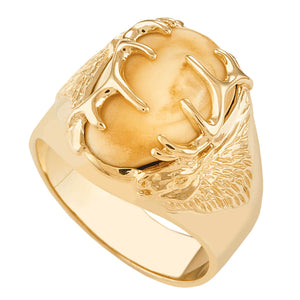 Twin Peaks Elk Ivory Gold Mens Ring - Jewelry