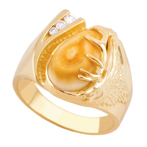 Glacier Elk Ivory & Diamond Gold Mens Ring - Jewelry