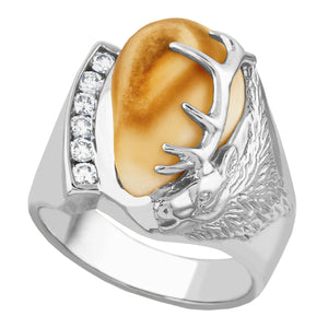 Cascade Elk Ivory & Diamond Sterling Silver Mens Ring - Fortune And Glory - Made in USA Gifts