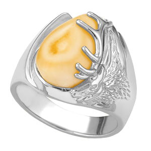Bighorn Elk Ivory Sterling Silver Mens Ring - Fortune And Glory - Made in USA Gifts