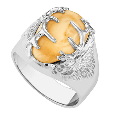 Twin Peaks Elk Ivory Sterling Silver Mens Ring - Jewelry