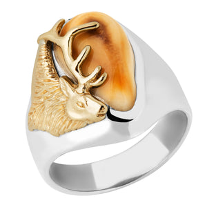 Bridger Elk Ivory Two Tone Gold Mens Ring - Jewelry