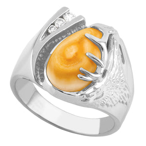 Glacier Elk Ivory & Diamond Sterling Silver Mens Ring - Fortune And Glory - Made in USA Gifts