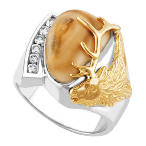 Granite Peak Elk Ivory Gold on Sterling Silver Diamond Mens Ring - Fortune And Glory - Made in USA Gifts