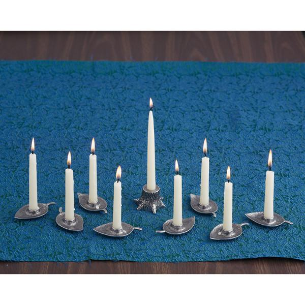 Woodland Menorah Set in Pewter
