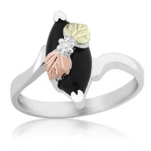 Sterling Silver Onyx Black Hills Gold Ring - Jewelry