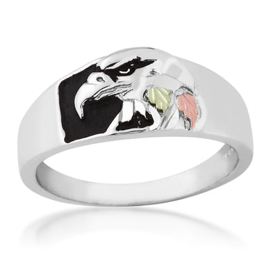 Mens Sterling Silver Black Hills Gold Proud Eagle Ring - Jewelry