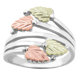 Black Hills Gold Four Leaves Wide Ring