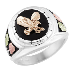 Mens Sterling Silver Black Hills Gold Onyx Eagle Ring IV - Jewelry