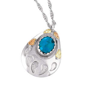 Sterling Silver Black Hills Gold Turquoise Pendant & Necklace - Jewelry