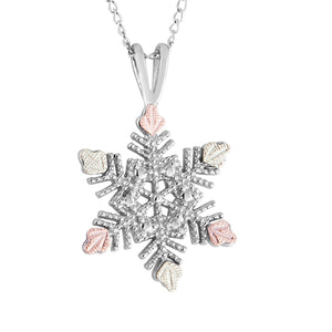 Sterling Snowflake Pendant & Necklace - Black Hills Gold - Fortune And Glory - Made in USA Gifts