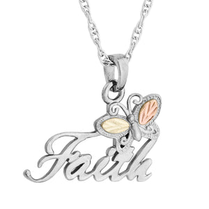 Sterling Silver Black Hills Gold Faith Pendant & Necklace - Jewelry