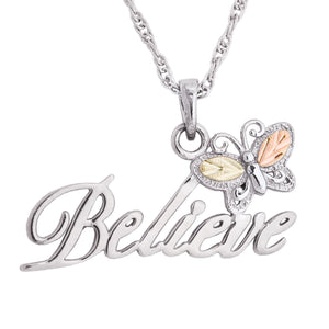 Sterling Silver Black Hills Gold Believe Pendant & Necklace - Jewelry