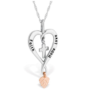 Sterling Silver Black Hills Gold Faith Hope Love Pendant & Necklace - Jewelry