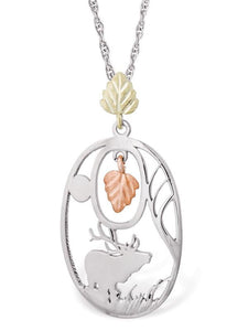 Sterling Silver Black Hills Gold Elk Pendant & Necklace - Jewelry