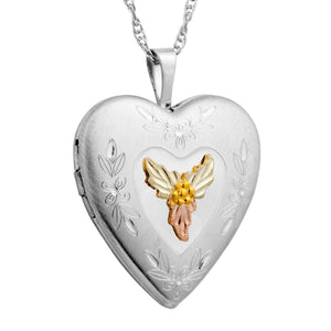 Sterling Silver Black Hills Gold Locket Style II Pendant & Necklace - Jewelry