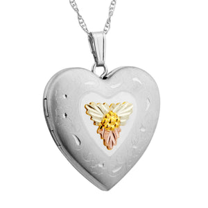 Sterling Silver Black Hills Gold Locket Pendant & Necklace - Jewelry