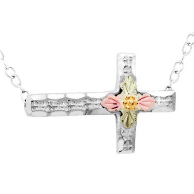 Sterling Silver Black Hills Gold Sideways Cross Pendant & Necklace - Jewelry