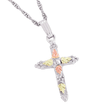 Sterling Silver Black Hills Gold Little Cross Pendant & Necklace Style II - Jewelry