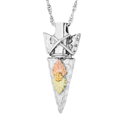 Sterling Silver Black Hills Gold Arrowhead Pendant & Necklace - Jewelry