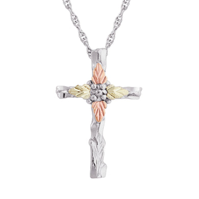 Sterling Silver Black Hills Gold Decorative Cross Pendant & Necklace - Jewelry