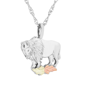 Sterling Silver Black Hills Gold Buffalo Pendant & Necklace - Jewelry