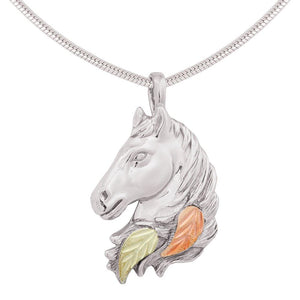 Sterling Silver Horses Head Pendant & Necklace - Black Hills Gold - Fortune And Glory - Made in USA Gifts