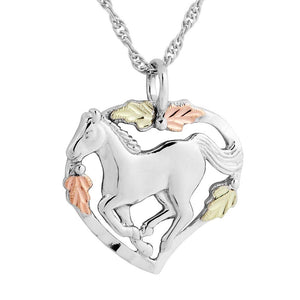 Sterling Silver Black Hills Gold Horse Pendant & Necklace - Jewelry