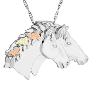 Sterling Silver Black Hills Gold Two Horse Pendant & Necklace - Jewelry
