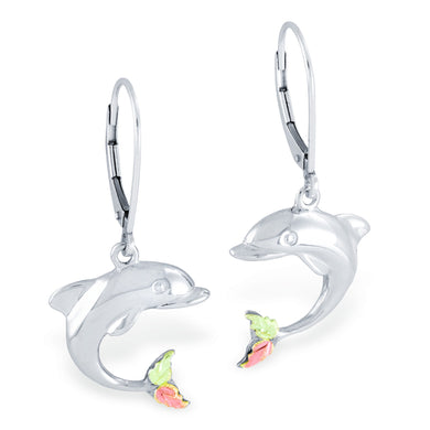 Black Hills Gold Sterling Silver Dolphin Earrings - Jewelry