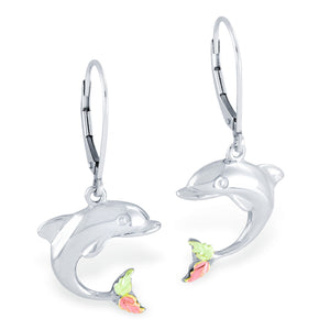 Black Hills Gold Sterling Silver Dolphin Earrings