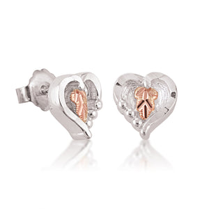 Black Hills Gold Lil Silver Heart Earrings - Jewelry