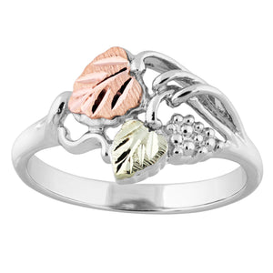 Sterling Silver Black Hills Gold Double Leaf Ring - Jewelry