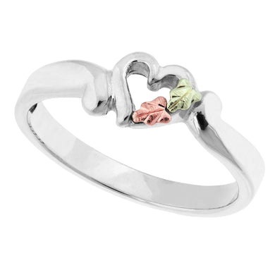 Sterling Silver Black Hills Gold Single Heart Ring - Jewelry