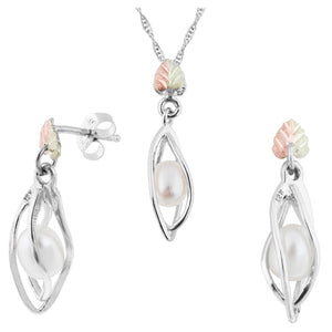 Sterling Silver Pearl Earrings & Pendant Set - Fortune And Glory - Made in USA Gifts