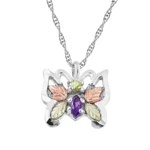 Sterling Amethyst Butterfly Pendant & Necklace - Black Hills Gold - Fortune And Glory - Made in USA Gifts