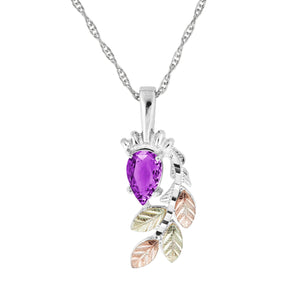 Black Hills Gold Pear Cut Amethyst Pendant & Necklace