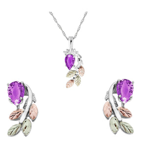 Sterling Silver Pear Cut Amethyst Earrings & Pendant Set