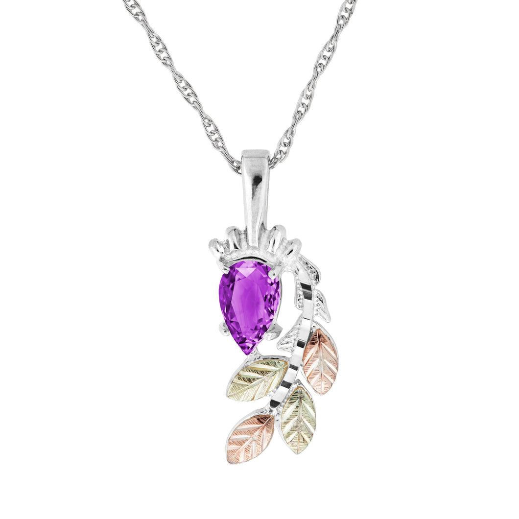 Sterling Silver Pear Cut Amethyst Pendant & Necklace