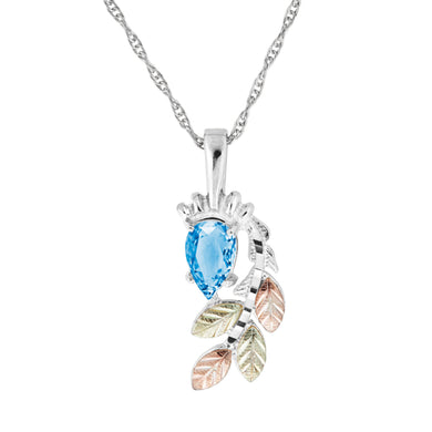 Sterling Silver Black Hills Gold Pear Cut Blue Topaz Pendant - Jewelry