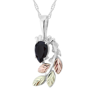 Sterling Silver Black Hills Gold Pear Cut Onyx Pendant - Jewelry