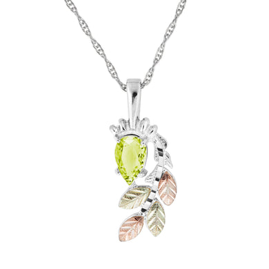 Sterling Silver Black Hills Gold Pear Cut Peridot Pendant - Jewelry