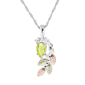 Sterling Silver Pear Cut Peridot Pendant & Necklace - Fortune And Glory - Made in USA Gifts