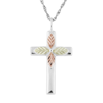 Sterling Silver Black Hills Gold Plain Cross Pendant - Jewelry