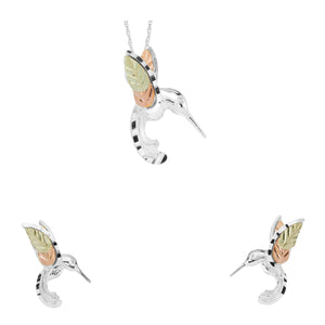 Sterling Silver Hummingbird Earrings & Pendant Set II - Fortune And Glory - Made in USA Gifts